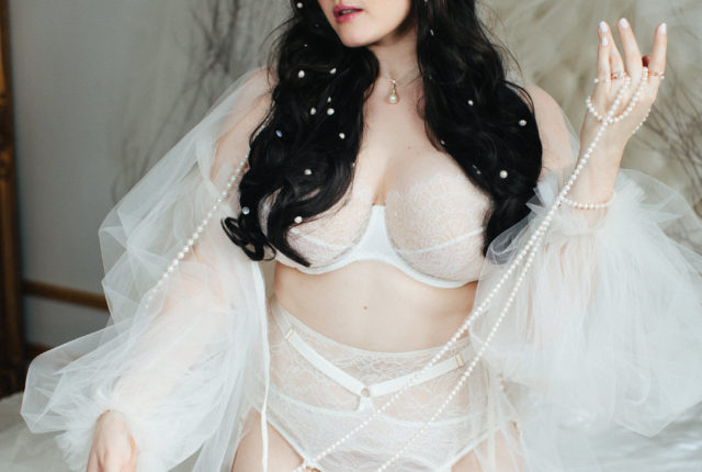 Sweet Nothings wears Harlow & Fox bridal lingerie. Photo (c) Sylvie Rosokoff