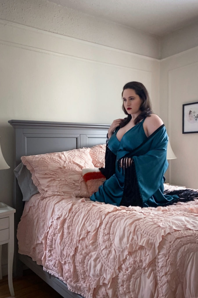 Sweet Nothings NYC Virtual Boudoir Shoot with Tigz Rice 2020. Gown and robe by Harlow & Fox