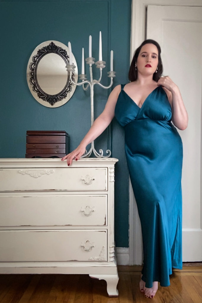 Sweet Nothings NYC Virtual Boudoir Shoot with Tigz Rice 2020. Silk gown by Harlow & Fox