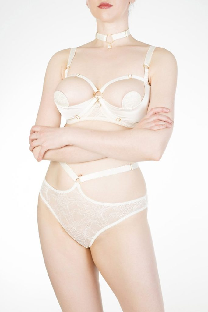 Alycya Quarter Cup Bra, Pasties, Strappy Tanga Brief, and Choker