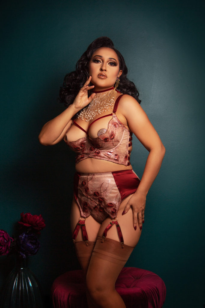 Veronika Longline Quarter Cup Bra, 8-Strap Suspender, Ouvert Brief, and Cassiopeia Scarlet Velvet Choker